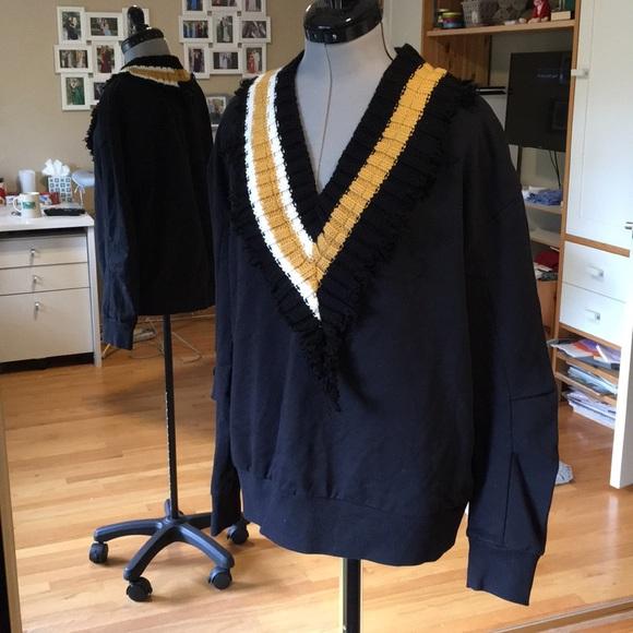 Zara Sweaters - Zara Black Sweatshirt Ribbed Knit Collar M
